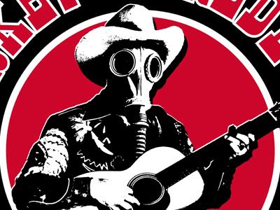 Gas Mask Cowboy ruocco cowboy hat guitar rock rockabilly punkabilly country punkgas mask graphic design surrealism tee t-shirt apparel fashion band music concert merch tour