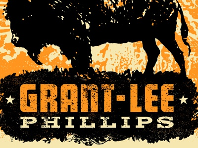 Grant-Lee Phillips Tour Poster Detail 1 poster grant lee buffalo illustration vintage bison ruocco europe buffalo usa gigposter animals concert tour orange black woodtype typography grant-lee phillips