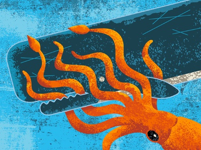 Squid vs. Sperm Whale 2 ruocco whale marine nautical animal mammal sperm whale squid type texture vintage tail ocean sea colossal giant deep blue orange