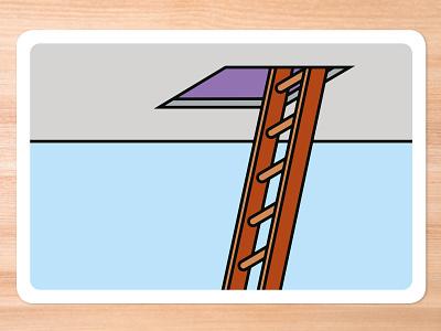 Improv Cards - Ladder graphic design vector retro illustrator illustration