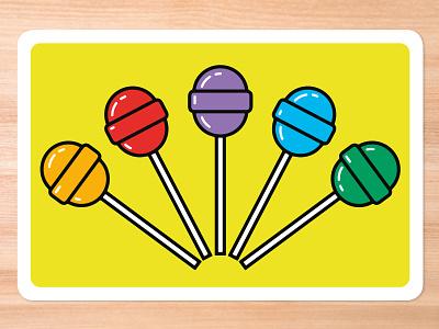Improv Cards - Suckers retro icbreaker lollipops suckers card game vector illustrator illustration