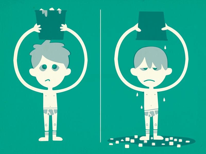 Ice Bucket Challenge ice bucket challenge als water underwear wet undies illustration retro vintage