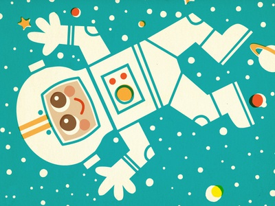 Space Pattern 2 space astronaut alien martian pattern retro vintage science illustration children kids