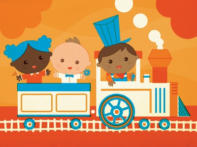 Baby Train baby train infant children kids illustration book retro vintage vector cute diversity