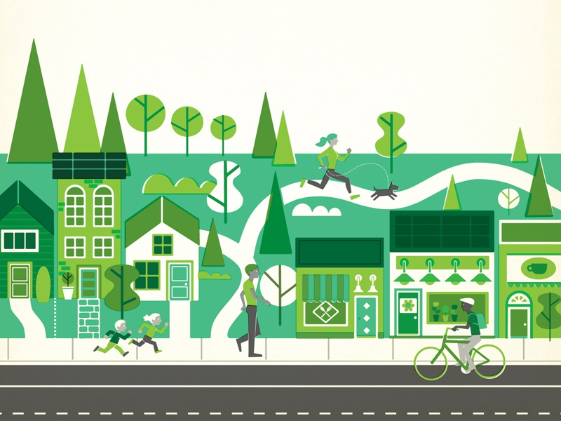 Neighbourhood illustration retro vintage lifestyle street community recreation people cycling walking café park
