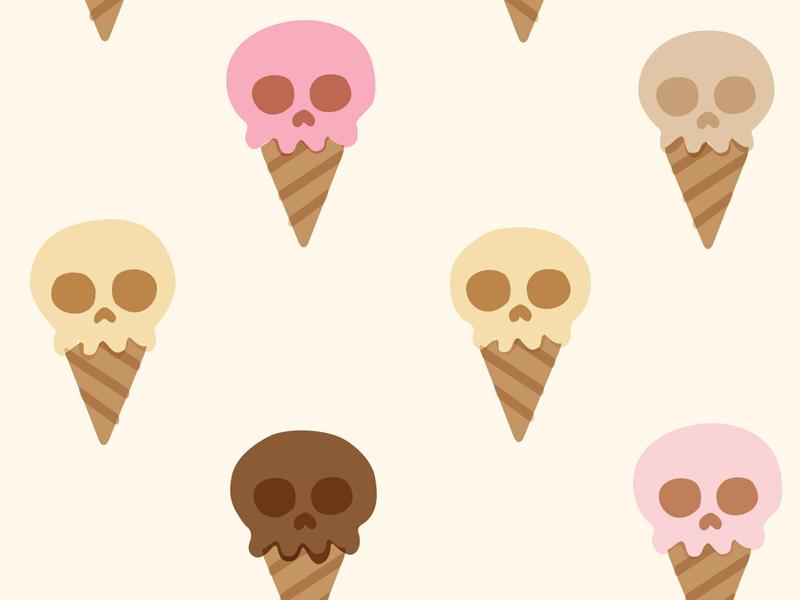 Ice Cream Cone Skulls ice cream skulls pattern cones cute retro illustration textile candy vintage lactose intolerance