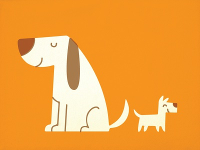 Two Dogs dog puppy pet retro vintage children kids illustration canine vector overprint