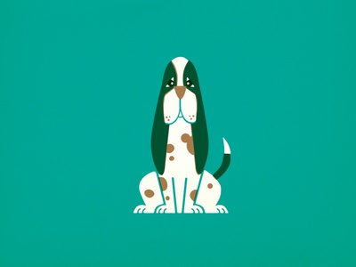 Sad Doggy dog puppy pet retro vintage children kids illustration hound vector