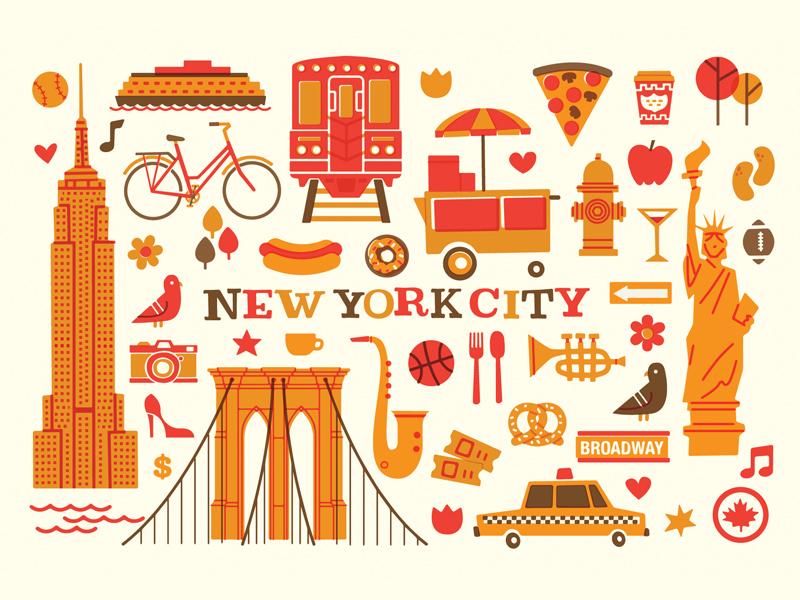 NYC pizza flat retro vintage city fall autumn vector illustration new york nyc