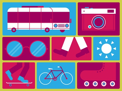 Traffic Box illustration transportation transit rollerblade bicycle bike skate skateboard walking sun vector bus