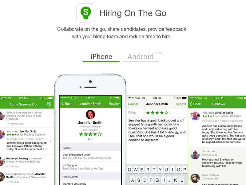 Hiring On The Go website landing page product ios
