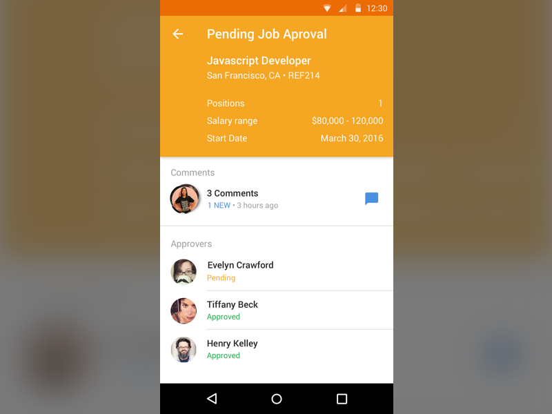 Pending Job Approval hr enterprise mobile material design android