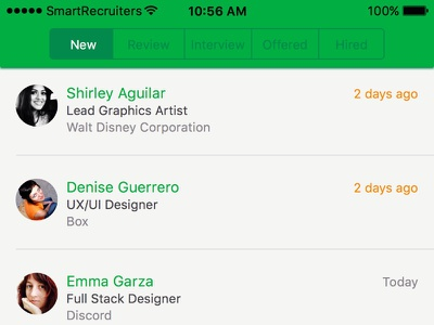 Candindate list by hiring stage iOS green segmentedviewcontroller tableview hiring ios
