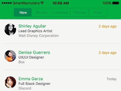 Candindate list by hiring stage iOS