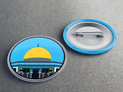 Jerusalem - Dome Of The Rock badge palestine jerusalem dome of the rock aqsa illustration colorful religion islam quds