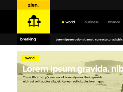 Zien: Magazine PSD template  readability visually-oriented
