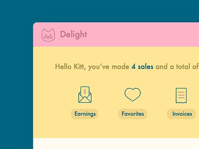 Delight UI Kitt dashboard sketch delight design cat kitty flat ui