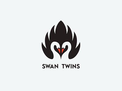 swan twins logo monogram logo forsale illustrator graphic design branding vector logo illustration icon design