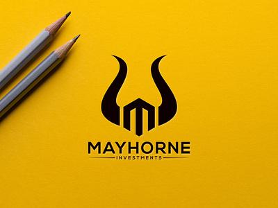 M logo bull typography graphic design branding vector icon logo illustration design