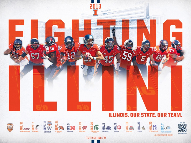 2013 Illinois Football Schedule Poster By Will Wyss Dribbble
