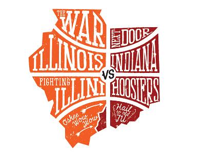 The war next door.  illini illinois uofi fighting illini basketball indiana iu hoosiers war rivalry