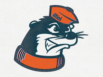 the Illinois Alma Otters otter illustration logo illinois illini pun