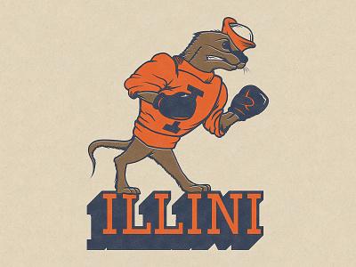 the Illinois Alma Otters 2 otter illustration fighting illini illini logo illinois