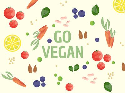 Go Vegan - Illustrations design vector illustration digital illustration design illustration art illustration illustrator