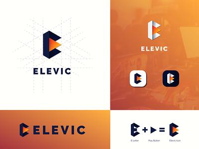 """Modern E letter Concept Logo - """"Elevic"""" minimal logo design monogram logo monogram logomark logotype design branding color illustration minimal adobe illustrator logodesign logo minimalistic logo"""