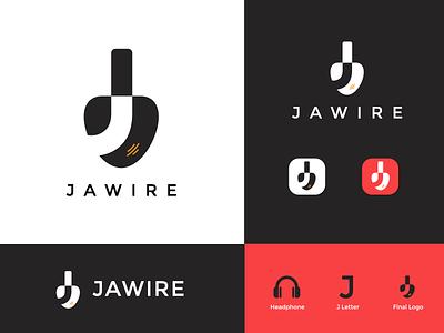 Jawire   J letter Modern Logo negative space headphone electronics logo tech logo headphone logo icon design design illustration branding adobe illustrator minimal color logodesign minimalistic logo
