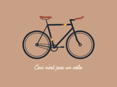 Ceci n'est pas un vélo velo cycling retro minimal quote ride bike vector illustration flat bicycle