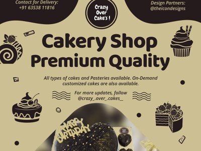 Crazy Over Cakes social media posts crazy cakery social media illustration branding gajajr parth sankalp jariwala icon designs theicongroup theicondesigns post designing social media posts bakkery bread cakes