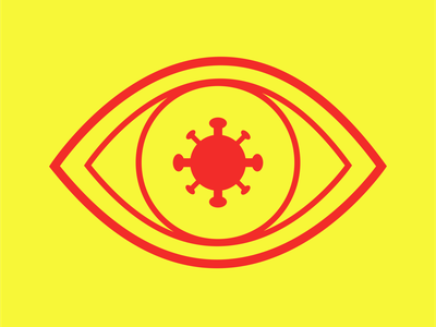 Covid Cautious Logo Red Yellow 3 branding design brand identity brand design branding brand covid 19 covid-19 covid19 covid design eyeball eyes eye icon design icons icon logodesign logos logo design