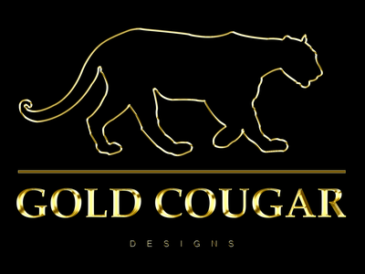 Gold Cougar Designs Official Logo elegant clean design designs official cougar silhouette gold lettering typography photoshop gold logodesign logotype logo design logos illustration creative vector branding design logo