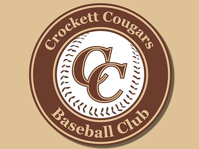 Crockett Cougars Baseball Club Logo shield logo stroke team logo team clean baseball logo baseball logotype logo design logos logodesign vector creative vectorart vector art typography illustration design branding logo