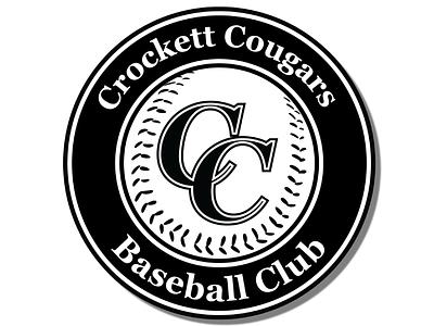 Crockett Cougars Baseball Club Logo Black & White black and white white black  white black shield logo club team logo baseball club baseball logo baseball logos logodesign icon logo design vectorart vector creative branding design logo