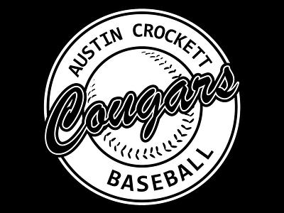 Austin Crockett Baseball Black & White blackandwhite white black team logo team baseball logo baseball cursive logo cursive font cursive typography logos icon logo design logodesign design creative vector branding logo