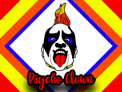 Psycho Clown Cartoon Portrait rgb yellow orange red blue dropshadow portraits portrait painting portrait illustration illustration art vector art vector illustration art vectorart illustration design vector creative portrait art portrait