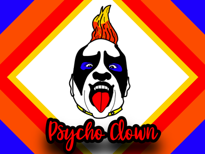 Psycho Clown Cartoon Portrait  3 red yellow orange blue clown wallpaper poster design portrait illustration vector illustration design illustration art art vector art vectorart illustration vector creative portrait art portraits portrait