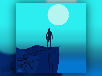 SXSW 6 power motivational inspirational man rocky gradient silhoutte person cliff cyan aqua blue graphic design art vector art vectorart illustration design vector creative