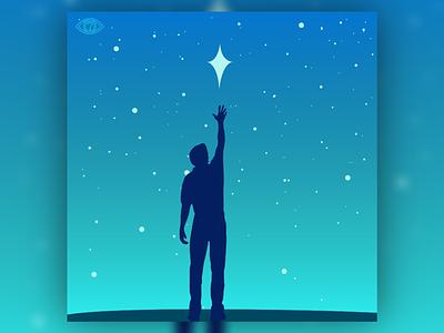 SXSW 7 motivation stars star reach inspirational man silhoutte sky night gradient aqua cyan blue vector art art vectorart illustration design vector creative