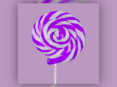 Low Poly Lollipop graphic digital art low poly purple soothing fun childish smooth clean lowpoly adaptable playful lollipop art vector art vectorart illustration design vector creative