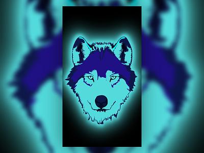 EPIC Neon Wolf aqua blue green colors color eyes wolf eyes graphic design glowing glow neon nature wolf art vector art vectorart illustration design vector creative