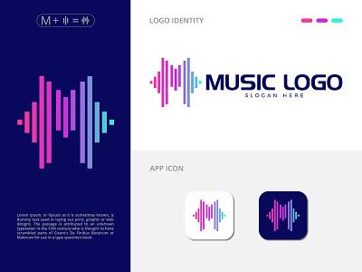Music Wave M Letter Logo graphic design vector app flat icon design minimal illustration creativity branding brand audio art abstract m letter logo logo music wave logo wave music logo music logo m logo