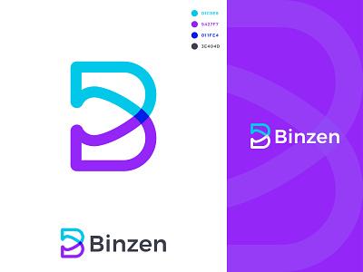 Binzen Logo Design brand identity logo mark dribble kp graphic lab kp khaled pappu letter logo logos branding graphic design logo design logo b logo b letter logo b letter logo design binzen logo design binzen logo binzen