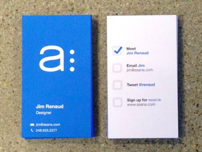 Asana Business Cards