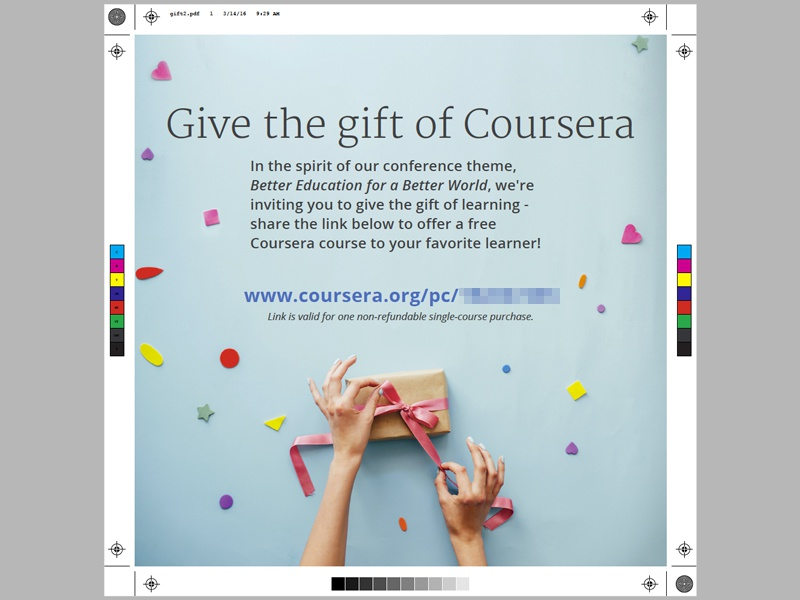 Giving Gifts bow ribbon gift confetti coursera coupon