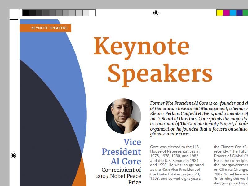 Keynote Speakers open sans merriweather keynote print booklet al gore coursera