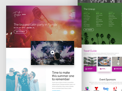 Latin Music Festival netmagazine web design gibson fictitious colorful bold vibrant landing page website festival music