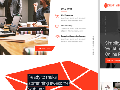Sardius Media Website Design knockout oswald roboto polygons black and white red web design website